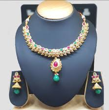 multi color stone necklace images Gold plated with multicolor stone designer necklace at rs 699 set png