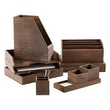 Wood Desk Organizer Feathergrain Wooden Desktop Organizer The Container Store