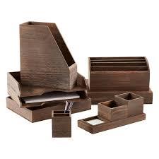 Desk Organizer Box Feathergrain Wooden Desktop Organizer The Container Store