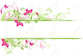 floral background with green ornament and flowers royalty free