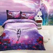 unicorn purple bedding 3d duvet cover set 3d bedding pinterest