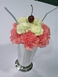 best grease images on pinterest  carnivals centerpieces and  with i made these centerpieces for fifties theme party silver tone soda  fountain style vases were filled with  large pink carnations and to from pinterestcomau