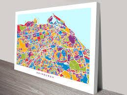 Edinburgh Map Edinburgh Scotland Street Map Canvas Art By Michael Tompsett