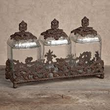 glass kitchen canister set gg collection gracious goods 3 glass canister set with brown