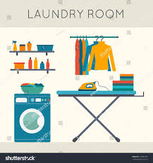 Powder Room Clothing Laundry Room Washing Machine Ironing Board Stock Vector 279859154