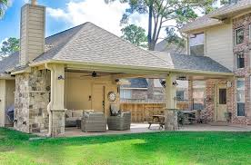 covered patio with fireplace covered patio fireplace design construction in spring texas