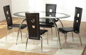 ultra modern dining room black glass top oval dining table set
