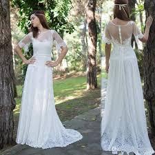 wedding shop uk discount boho wedding dresses 2017 half lace sleeves sheer a line