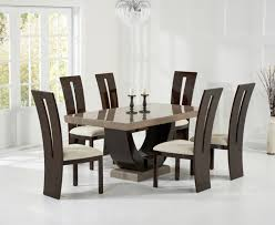 marble dining room sets raphael 170cm brown pedestal marble dining table with verbier chairs