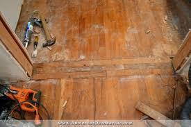 cased opening progress patched hardwood floor door casing
