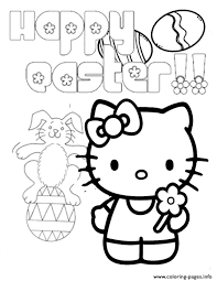 kitty bunny egg easter coloring pages printable