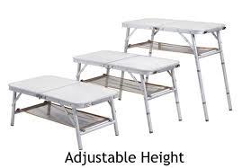 Adjustable Height Folding Table Ming U0027s Mark Inc Ta 8104 Aluminum Folding Table With Mesh Shelf