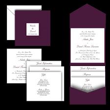 Pocket Fold Invitations Aubergine