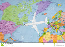 Map The Usa by Flight To The Usa Symbolic Image Of Travel By Plane Map Stock