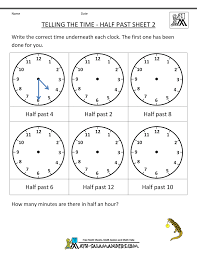 telling time worksheets o u0027clock and half past
