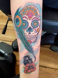 sugar skull and peacock feather feminine by steve malley