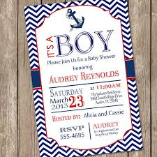nautical baby shower invitations chevron nautical baby shower invitation blue anchor