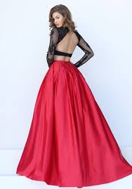black and red lace and satin sheer long sleeve backless two piece