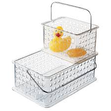 Storage Containers For Bathrooms by Clear Grid Totes The Container Store