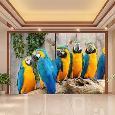 animal wall murals promotion shop for promotional animal wall custom 3d wall mural wallpaper animal world parrot wood grain background 3d living room bedroom wall painting photo wallpaper