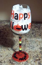 amazon com hand painted halloween wine glass happy halloween