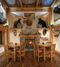 mancave ideas dining room rustic with stuffed animals exposed