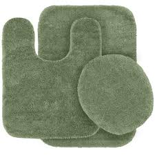 Green Bathroom Rugs 3 Green Bath Mat Set Bathroom Rug Toilet Lid Cover Contour
