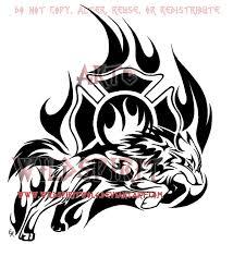 through the flames wolf tribal design by wildspiritwolf on