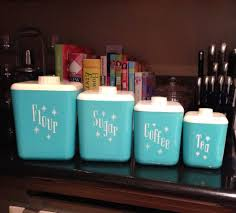 mcm rare vintage lustro ware aqua turquoise canister set