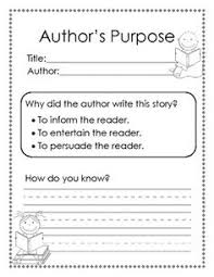 image result for first grade author u0027s purpose worksheets authors