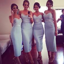 light blue satin mermaid bridesmaid dress cheap bridesmaid dresses