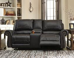Rocking Reclining Loveseat With Console Milhaven Black Power Reclining Loveseat W Console Signature