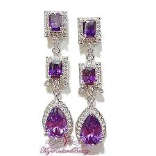purple drop earrings bridal earrings bridal accessories jewelry purple drop earrings
