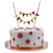 neon happy birthday cake bunting topper by