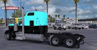 kenworth w900 light blue black mod truck skin ats mod american
