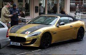 expensive cars gold arab drives 90k gold maserati around london with l plates