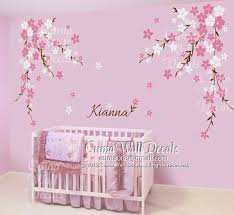 Cherry Blossom Wall Decal For Nursery Nursery Wall Decal Baby And Name Decals Flowers Cherry