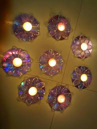beautiful candle holders created made out of old cd u0027s u0026 plastic
