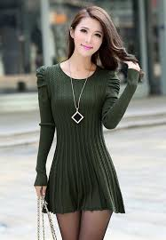 army green puff sleeve braided ribbed sweater dress army green