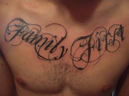 chest quote tattoos for men family first chest quote 纹身for men 纹身照片从rancell302 照片