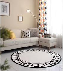 round rugs for living room abc round rug floor sofa carpet mat alphabet design black white