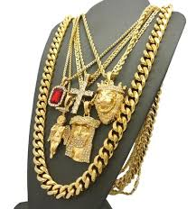 hip hop jewelry necklace images Hip hop jewelry 5 piece pendant set w various chain necklaces in jpg