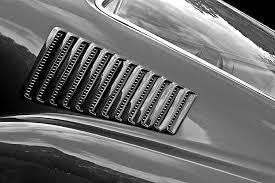 1967 Mustang Black 1967 Mustang Fastback Vent In Black And White Photograph By Gill