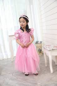 2017 new aurora princess dress girls puff short sleeve tulle tutu