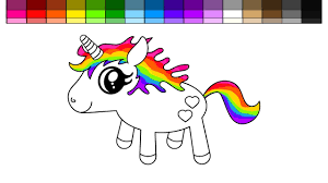learn colors for kids and color rainbow unicorn coloring page