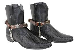 real leather biker boots brown leather boots straps chain skeleton skulls men western