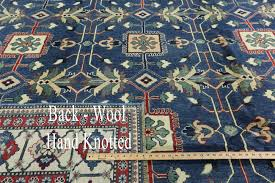 Area Rugs 10 X 14 one of a kind geometric blue 10x14 super kazak hand knotted wool