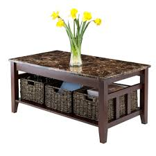 amazon com winsome wood faux marble top zoey coffee table