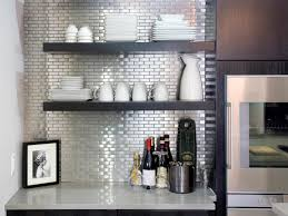 Modern Backsplash Kitchen Ideas Bathroom Captivating Mirrored Tile Backsplash With Open Shelving