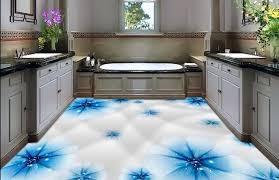 customize 3d fashionable blue transparent flowers 3d flooring